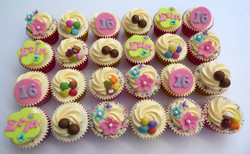 Girly sweetie themed cupcakes