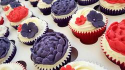 Purple & Red Peony Cupcakes