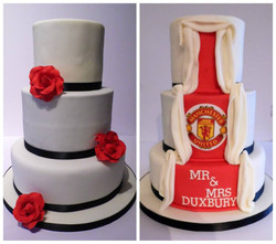 Reveal wedding cake, traditional style to the front and the back to reveal the husbands Man Utd love