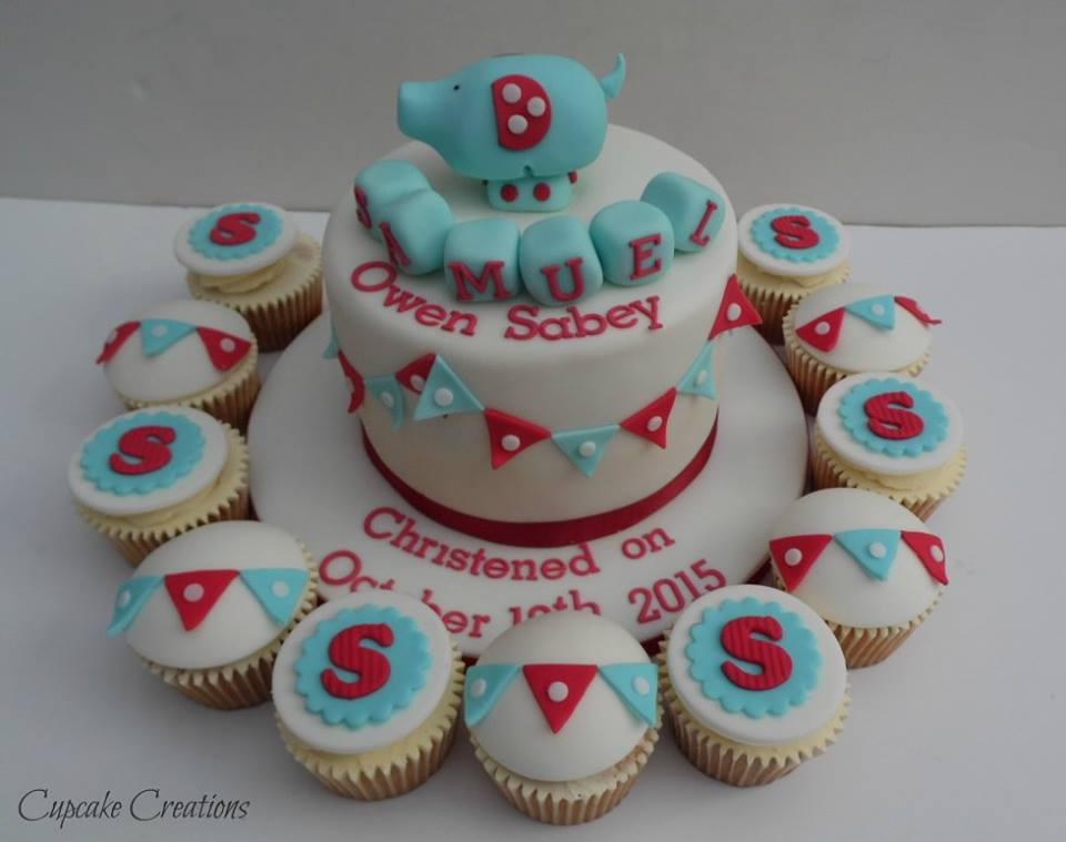 Christening Cake with Cupcakes
