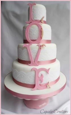 4 Tier LOVE Wedding Cake