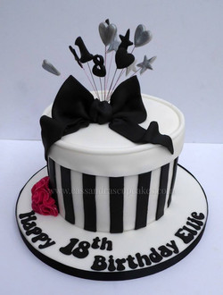 Black & White hat box style 18th birthday cake