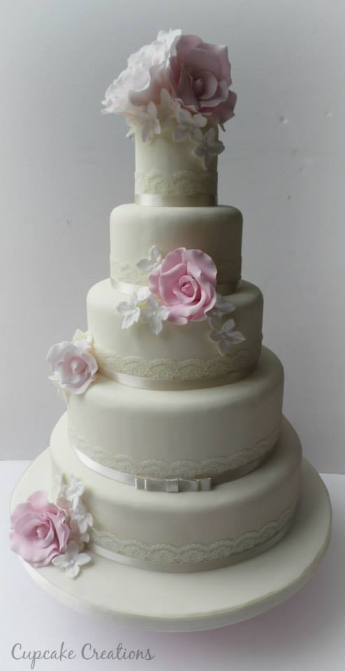 5 Tier Vintage Wedding Cake
