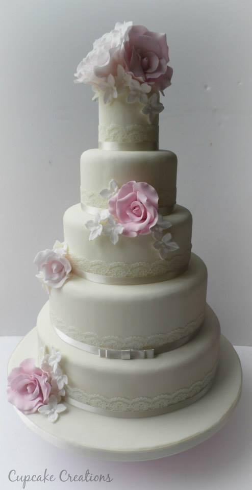 5 Tier Vintage Wedding Cake