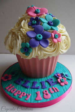 Bright Floral Giant Cupcake