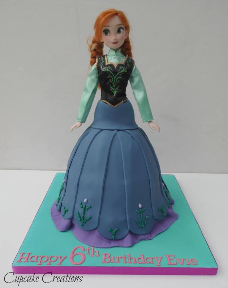 Anna from Frozen doll cake