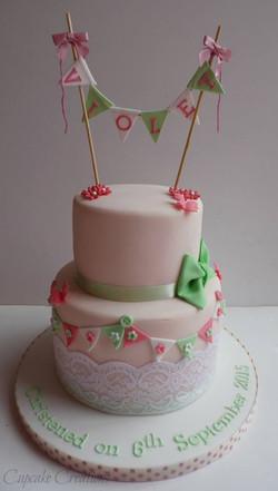 2 Tier Vintage Christening Cake
