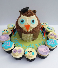 Owl themed Giant Cupcake with Co-ordinating Cupcakes
