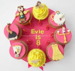 Beauty and the Beast cupcake board