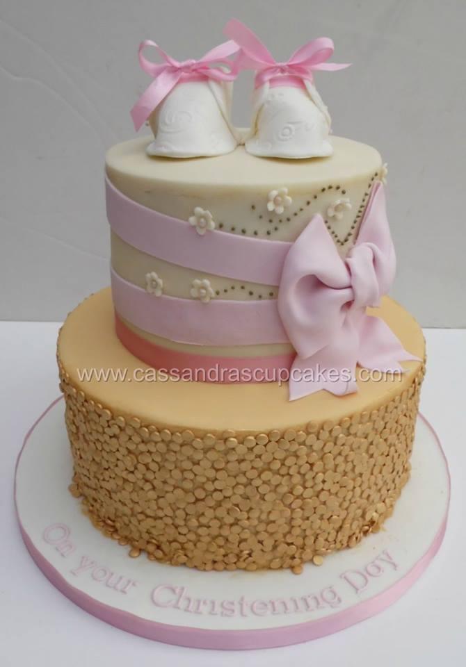 Twin Girl Christening Cake