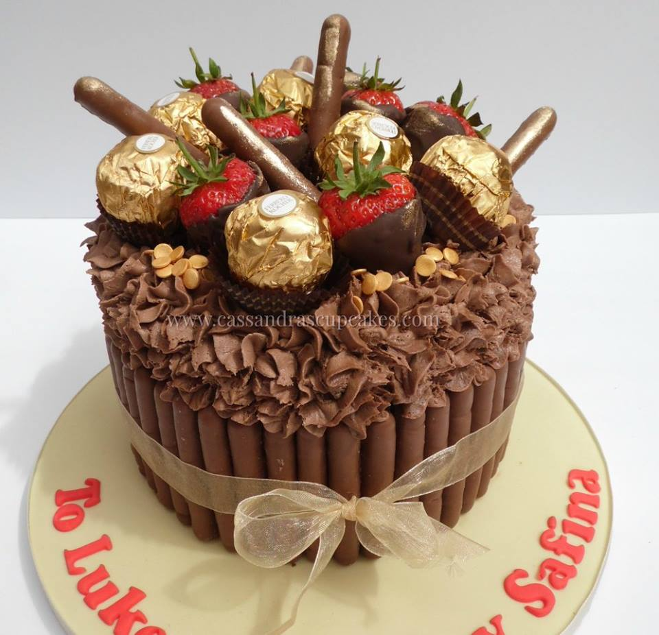Chocolate Cake, Choc Fingers, Strawberries and Ferrero Rocher