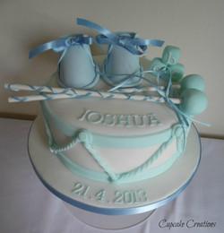 Blue Boys Christening Cake