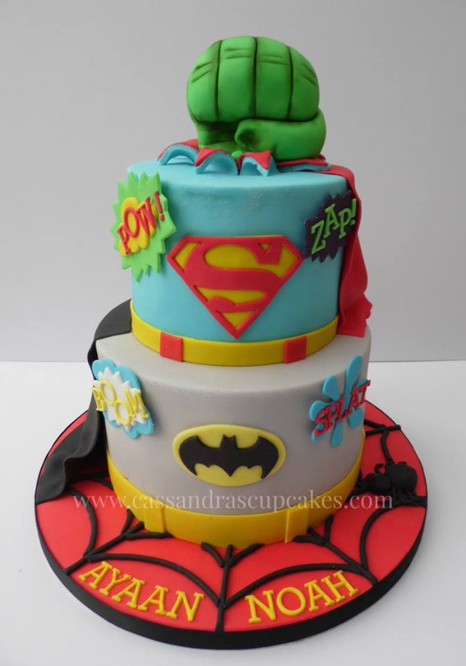 Superhero themed birthday cake