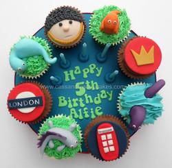 London & Dino themed Cupcake Board