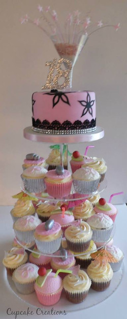 18th Birthday Cupcake Tower with Cocktail Theme