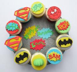 Superhero themed cupcake board