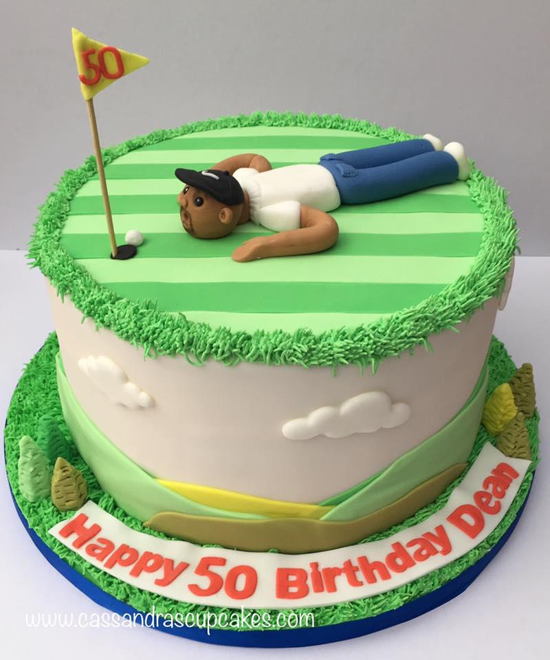 Golfing themed birthday cake