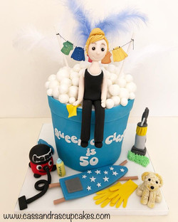 Cleaning themed 50th birthday cake