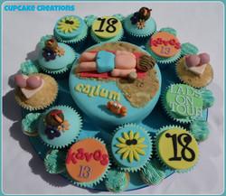 18th Birthday Lads on Tour Cake & Cupcakes