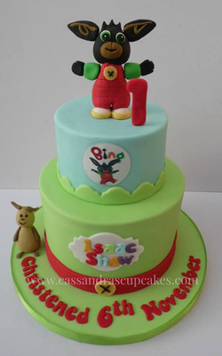 Bing themed christening cake & 1st birthday cake