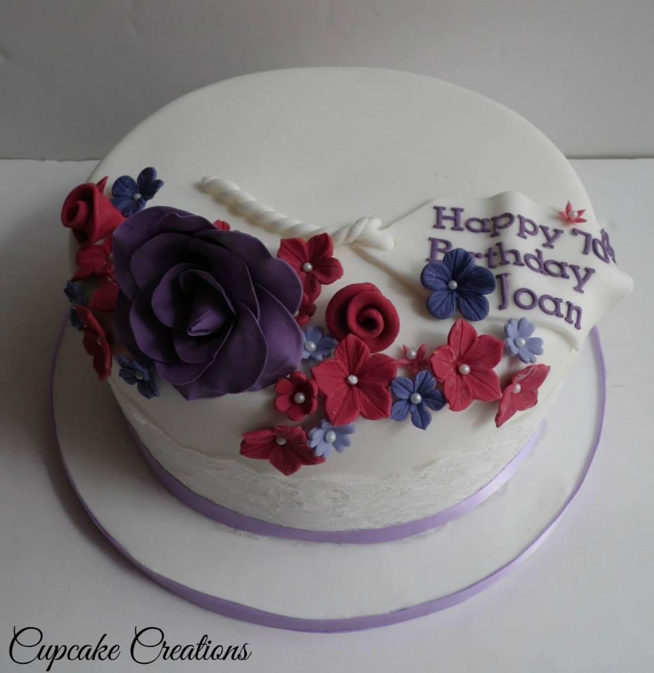 Floral Vintage 70th Birthday Cake