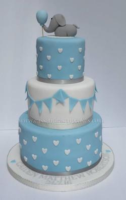Three Tier Elephant Christening Cake