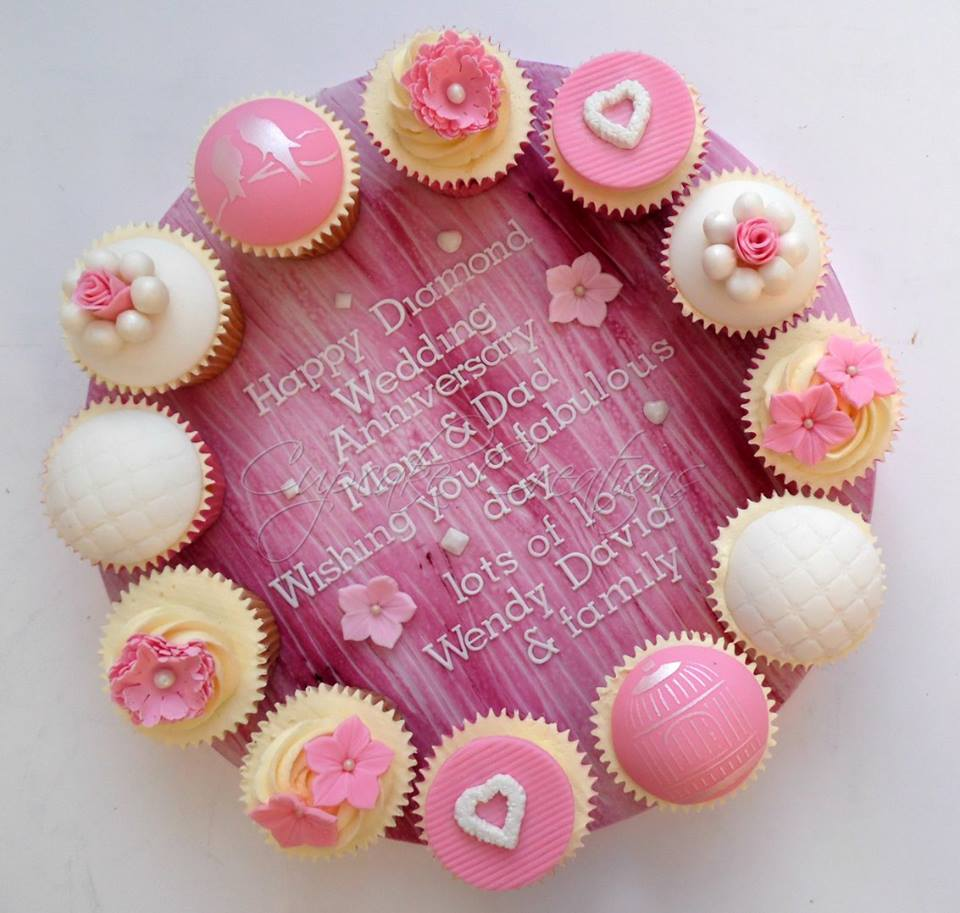 Diamond Wedding Anniversay Cupcake Board