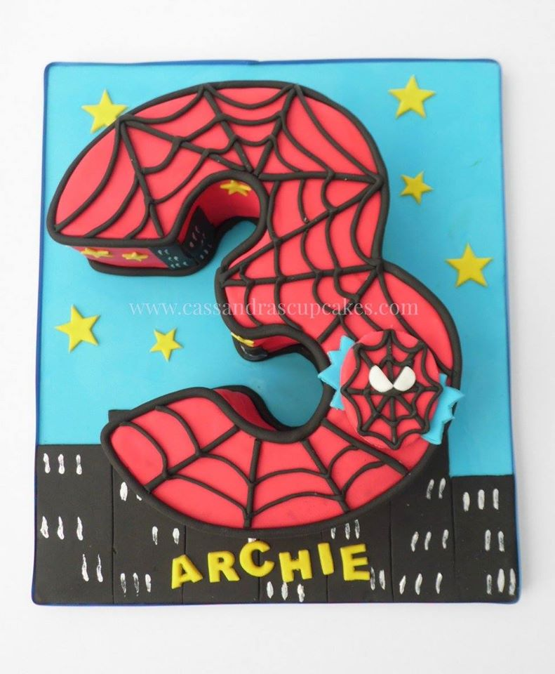Spiderman themed number three cake