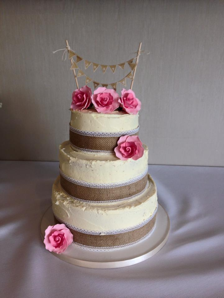 3 Tier Wedding Cake Country Theme