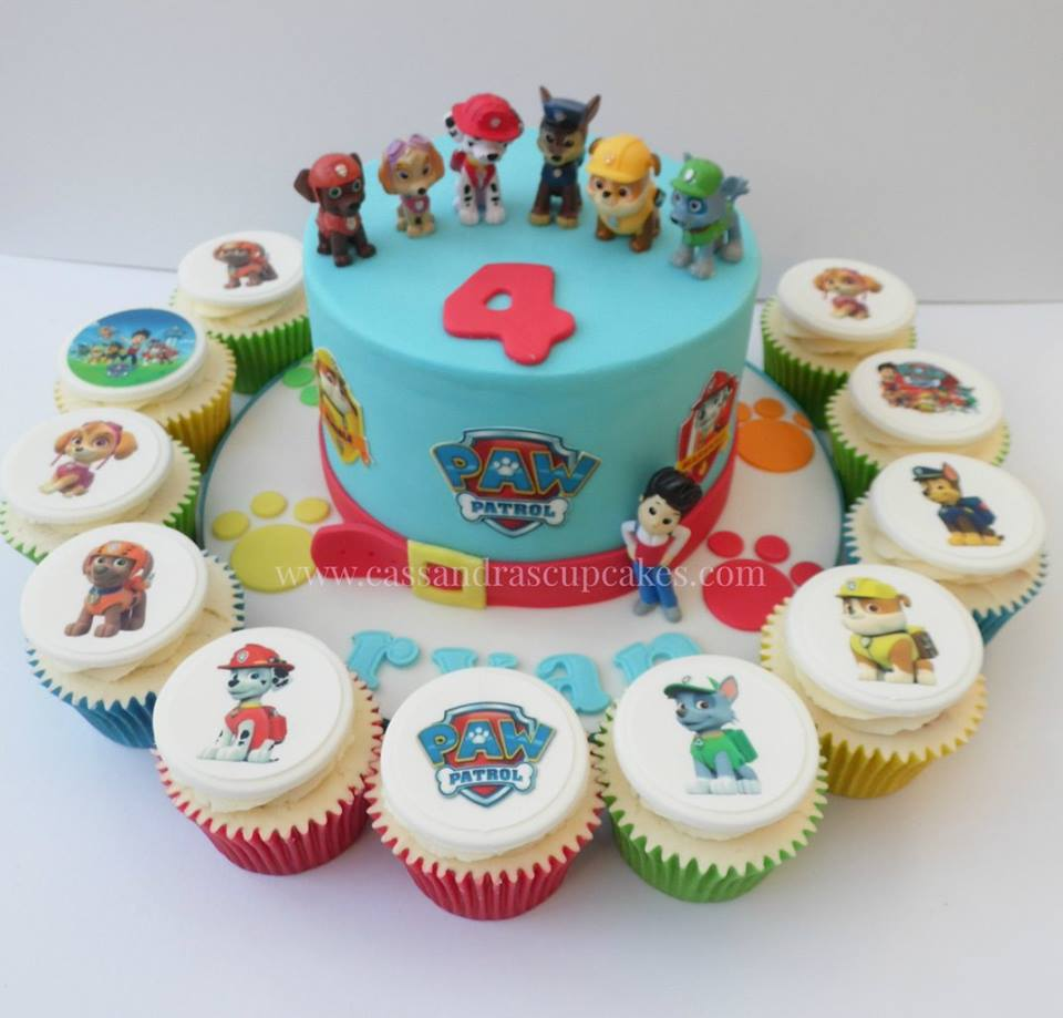 Paw Patrol themed cake and cupcakes