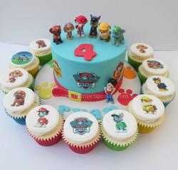 Paw Patrol themed cake and cupcakes