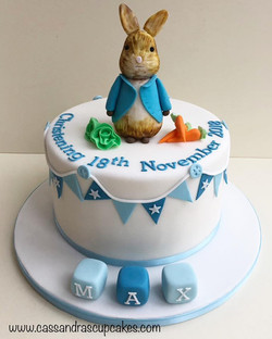Rabbit themed christening cake