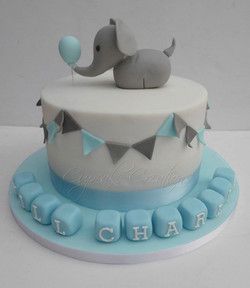 Elephant themed Christening Cake with bunting