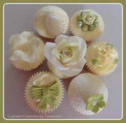 Green & White Vintage Cupcakes