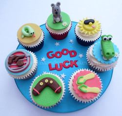 Good Luck cupcake board for somebody emigrating to Australia