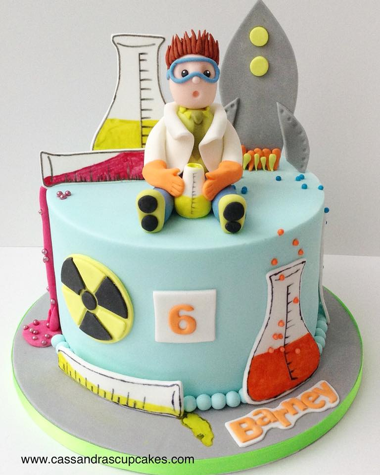 Super science themed birthday cake