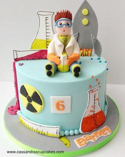 Super science themed birthday cake