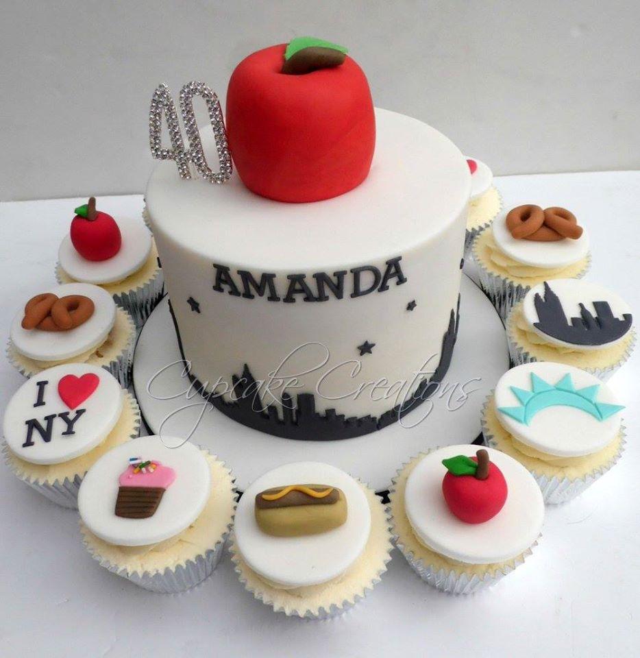 40th Birthday NYC Cake & Cupcakes