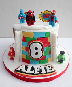 Lego Superhero themed Birthday Cake