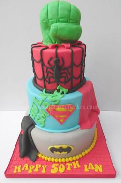 Superhero themed 50th birthday cake