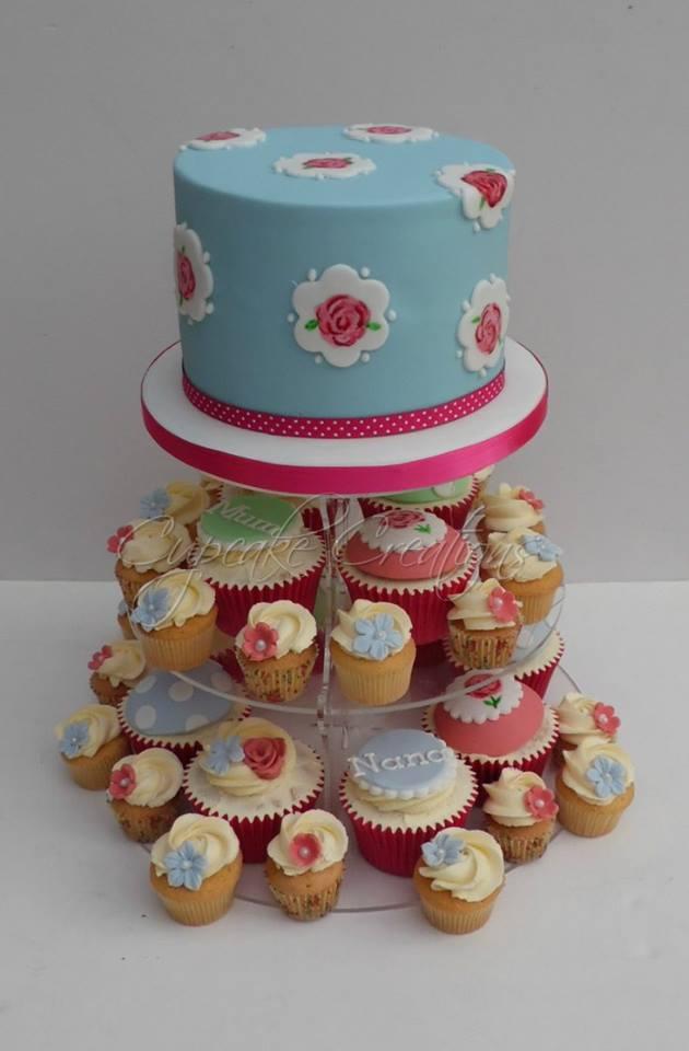 Cath Kidston 60th Birthday Cake & Cupcakes
