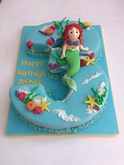 Mermaid themed 3rd Birthday Cake