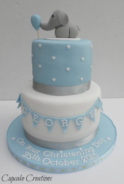 2 Tier Elephant & Bunting Christening Cake