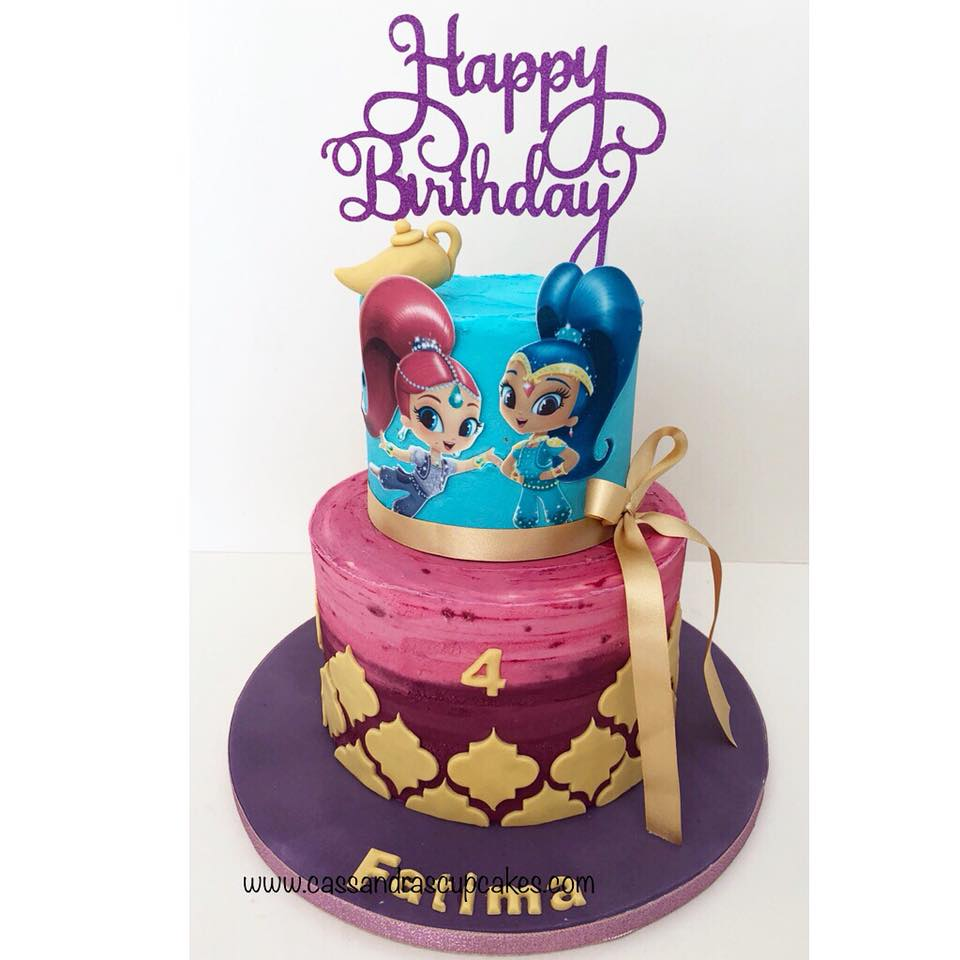 Shimmer and shine themed cake