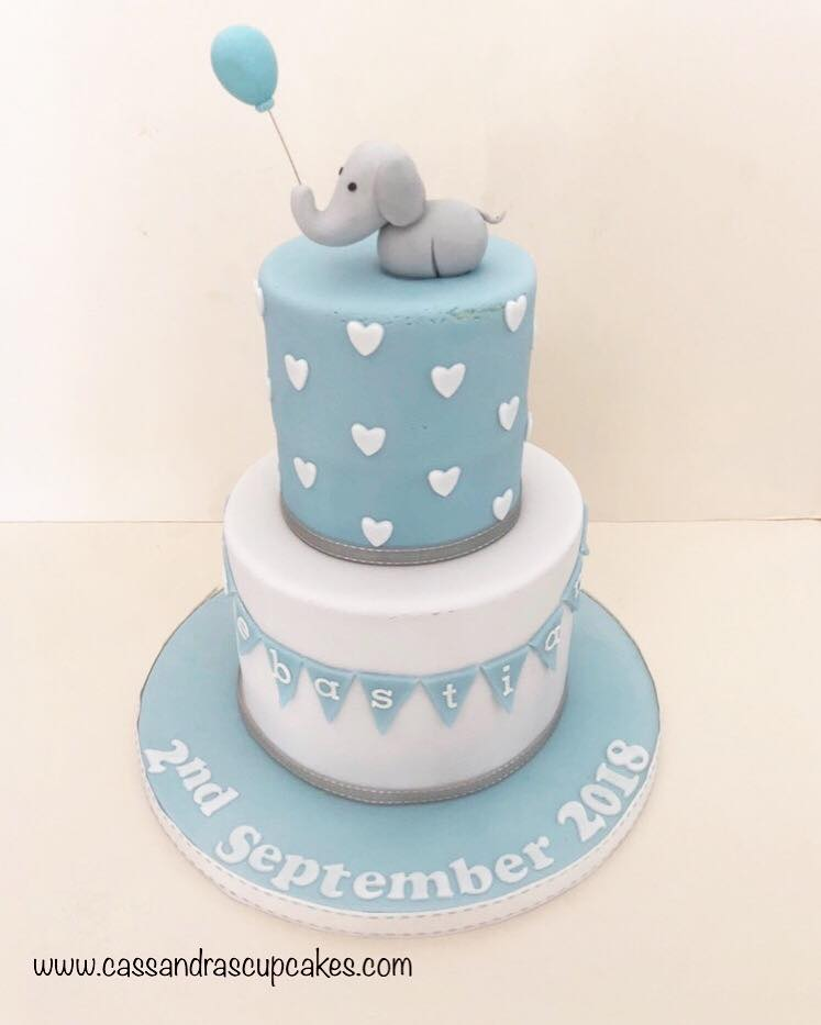 Cute elephant christening cake