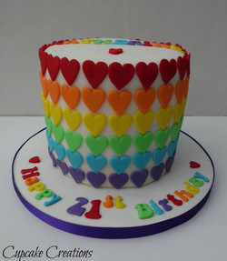 Rainbow Layered Cake filled with Smarties
