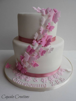 Girls Butterfly Christening Cake