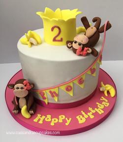 Monkey themed 2nd Birthday cake