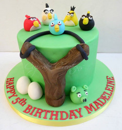 Angry Birds themed birthday cake