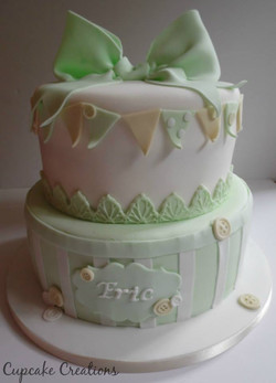 Bunting & Bows Christening Cake